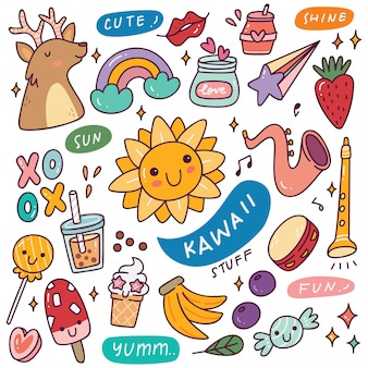Set van kawaii iconen