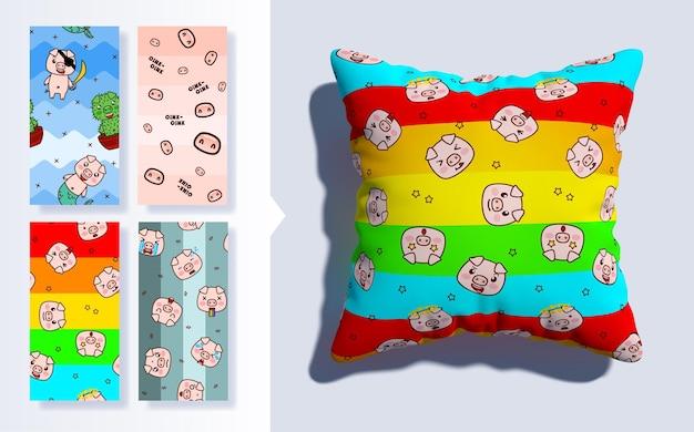 Set van kawaii naadloos patroon met schattige varkens