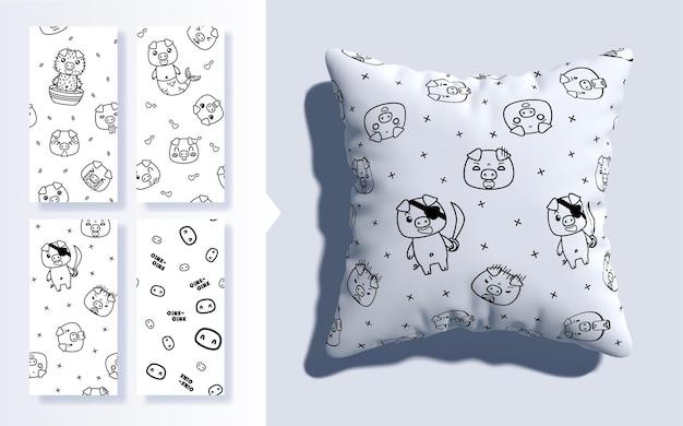 Set van kawaii naadloze patroon met schattige varkens