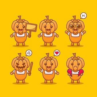 Set van kawaii pompoen met verschillende expressie