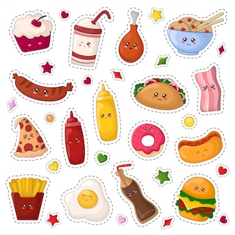 Set van kawaii sticker of patch met cartoon fast food