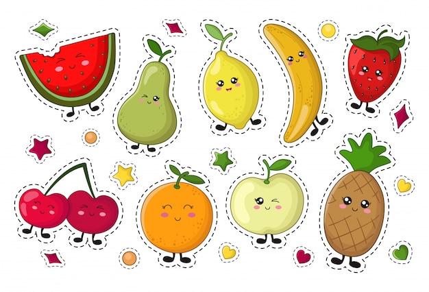 Set van kawaii sticker of patch met voedsel