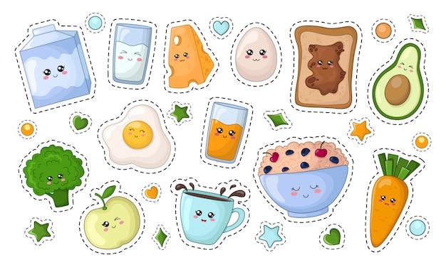 Set van kawaii stickers met dieetvoeding