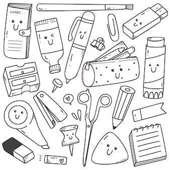 Set van kawaii stijl stationaire doodles lijntekeningen