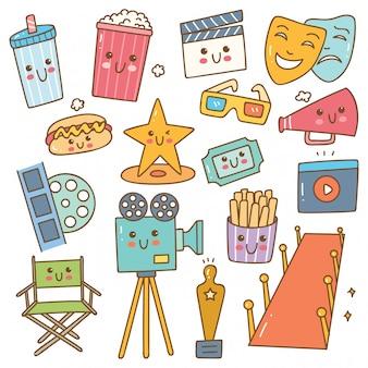Set van kawaii-stijlfilm