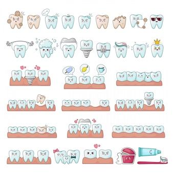 Set van kawaii tanden