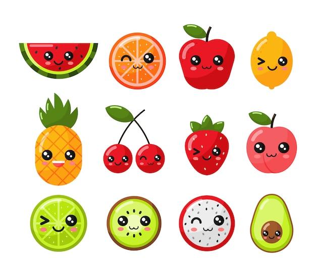 Set van kawaii tropisch fruit cartoon stijl. geïsoleerd