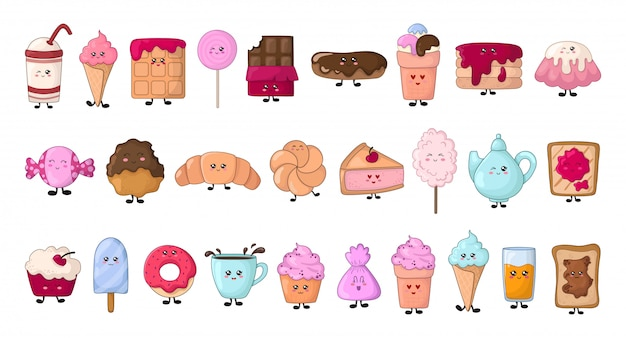 Set van kawaii voedsel - snoep of desserts - donut, cake, snoep