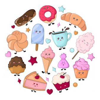 Set van kawaii voedsel - snoep of desserts, tekens