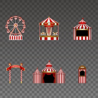 Set van kermis elementen geïsoleerd reuzenrad carrousel kraam uithangbord circus en stand