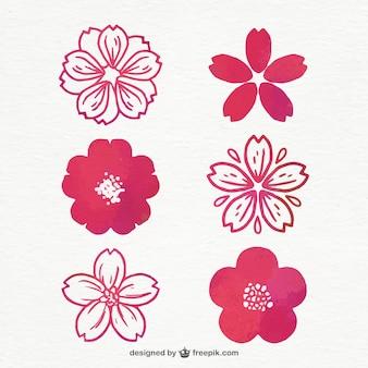 Set van kersenbloesems in paarse tinten