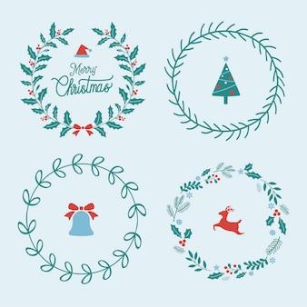 Set van kerst badges