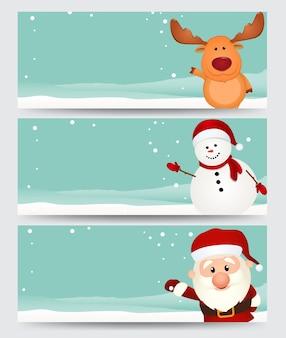 Set van kerst banner met santa, rendier en sneeuwpop