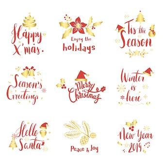 Set van kerst begroeting badge vectoren
