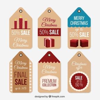 Set van kerst behandelt labels