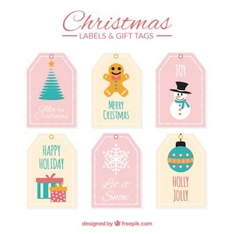 Set van kerst cadeau labels