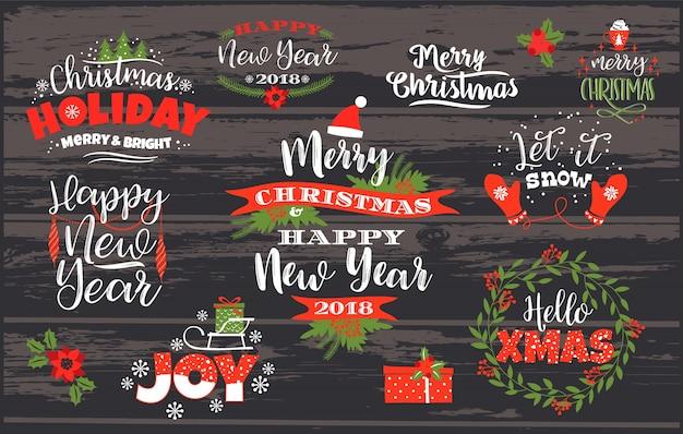 Set van kerst en gelukkig nieuwjaar belettering ontwerpen.