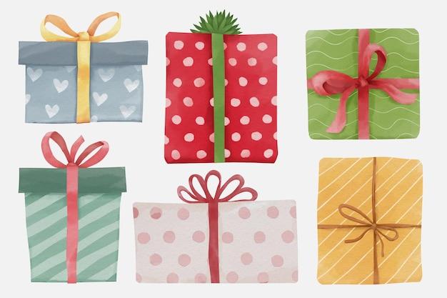 Set van kerst en nieuwjaar aquarel geschenkdozen