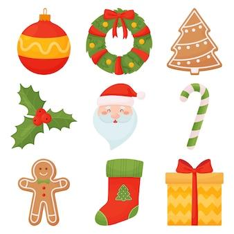 Set van kerst iconen in cartoon stijl.