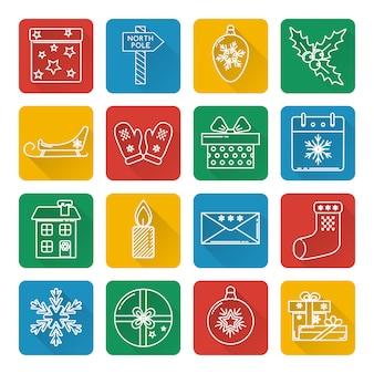 Set van kerst iconen in lijnstijl