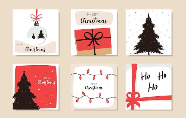 Set van kerst instagram-post
