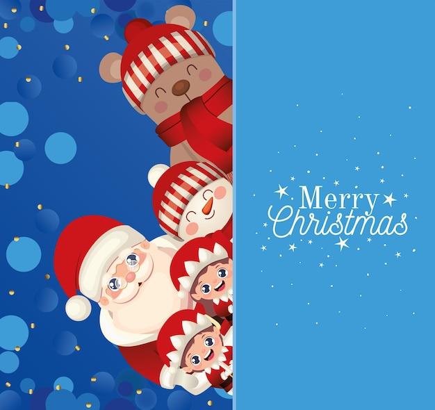 Set van kerst met vrolijk kerstfeest belettering in blauwe achtergrond afbeelding