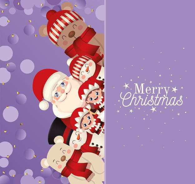 Set van kerst met vrolijk kerstfeest belettering in paarse achtergrond afbeelding