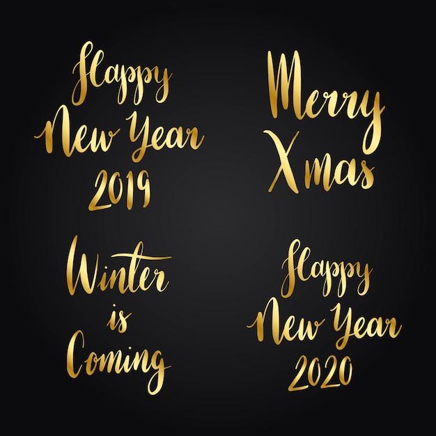 Set van kerst vakantie typografie vectoren
