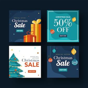 Set van kerst verkoop posterontwerp met speciale aanbiedingen