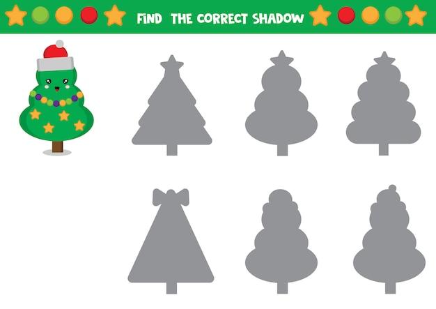 Set van kerstbomen. zoek de juiste schaduw. werkblad voor kinderen