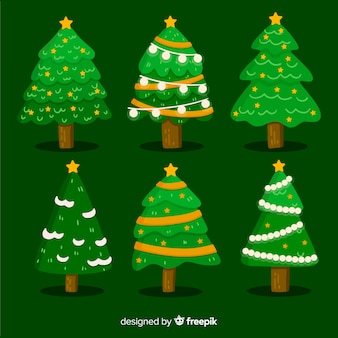 Set van kerstboom in platte ontwerp