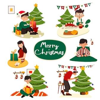 Set van kerstillustraties. mensen die kerstmis vieren