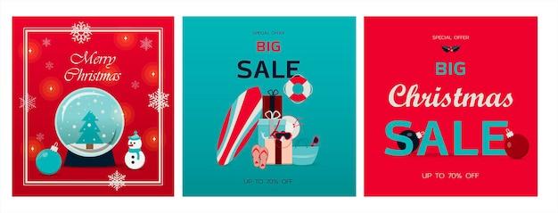 Set van kerstkaarten vectorillustratie van een grote kerstverkoop gezellige open haard met boeken over de ...