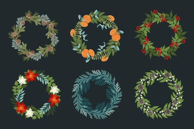 Set van kerstkrans