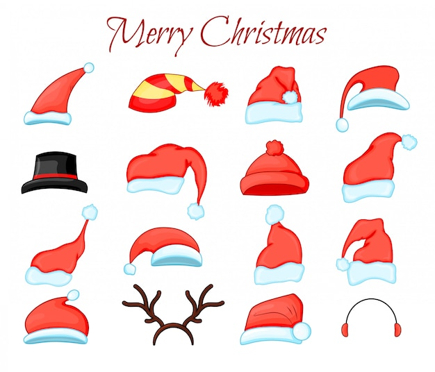 Set van kerstman hoed collectie