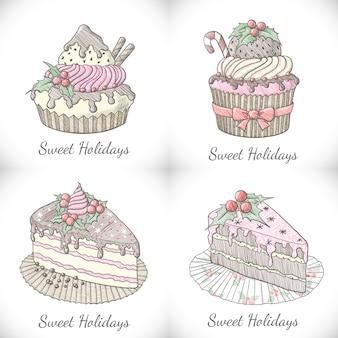 Set van kerstmis cupcakes en taarten in schets stijl.
