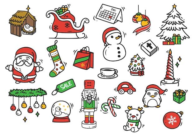 Set van kerstmis doodle element