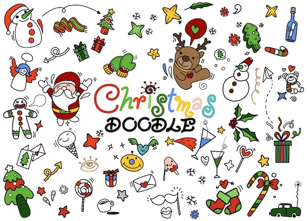 Set van kerstmis doodle, hand getrokken illustratie van doodle