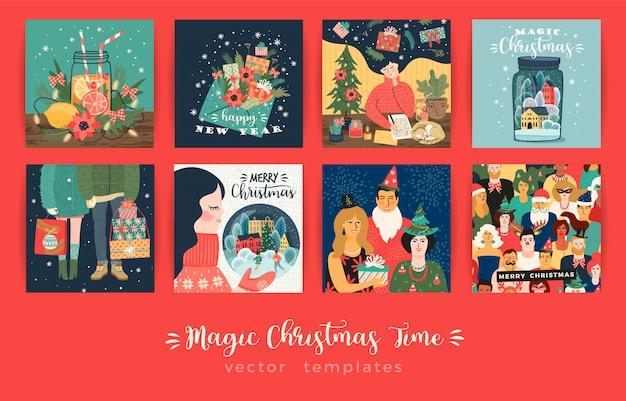 Set van kerstmis en gelukkig nieuwjaar illustraties kaartenset