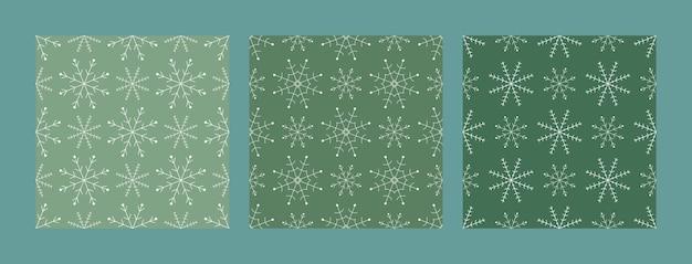 Set van kerstmis en gelukkig nieuwjaar naadloze patronen met sneeuwvlokken. vector ontwerpsjabloon. digitaal papier.