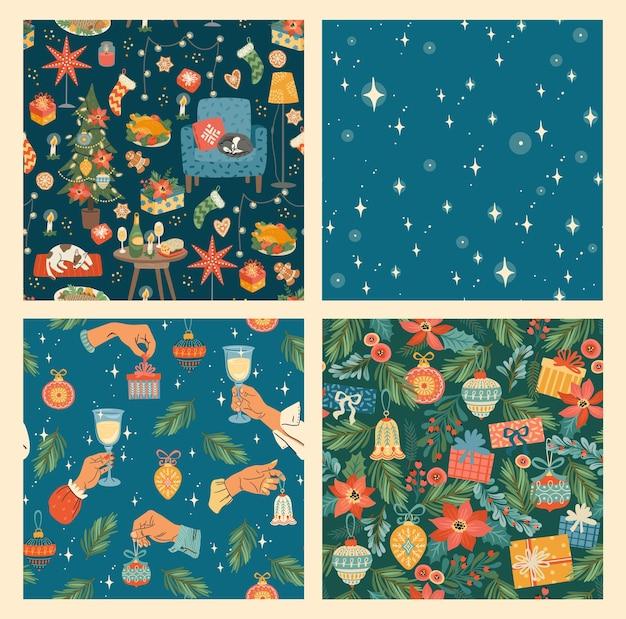Set van kerstmis en gelukkig nieuwjaar naadloze patroon. trendy retro stijl.
