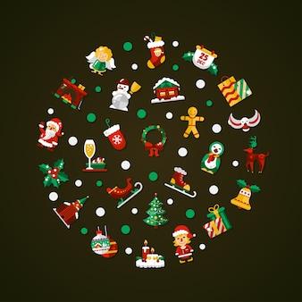 Set van kerstmis en gelukkig nieuwjaar platte ontwerp iconen