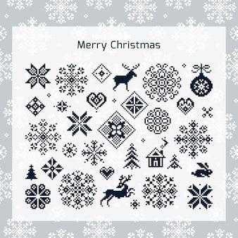 Set van kerstmis gebreide naadloze patroon
