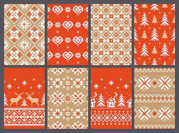 Set van kerstmis naadloze patroon eindeloze textuur voor behang retro-stijl.