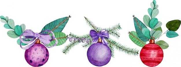 Set van kerstmis nieuwjaar ballen