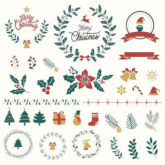 Set van kerstmis ontwerp elementen vector