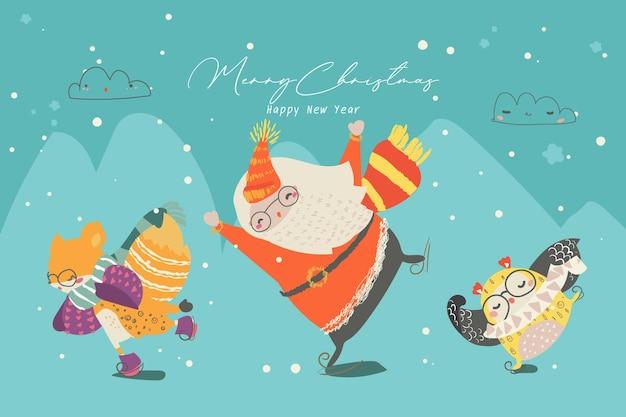 Set van kerstmis ontwerpelementen naadloze patroon christmas santa en dieren.