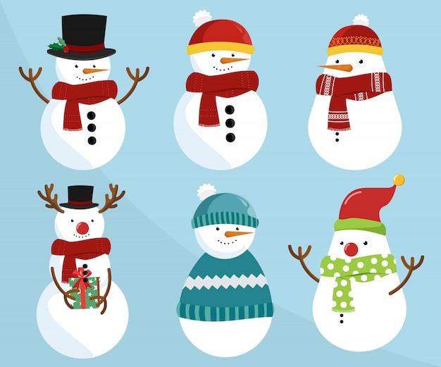 Set van kerstmissneeuwmannen