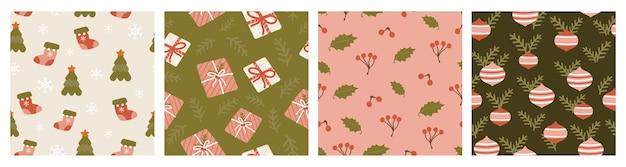 Set van kerstvakantie modern naadloos patroon voor stoffen, linnen, textiel en behang