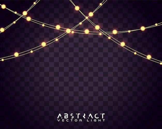 Set van kerstverlichting. gloeiende lichten voor kerstmisvakantie.